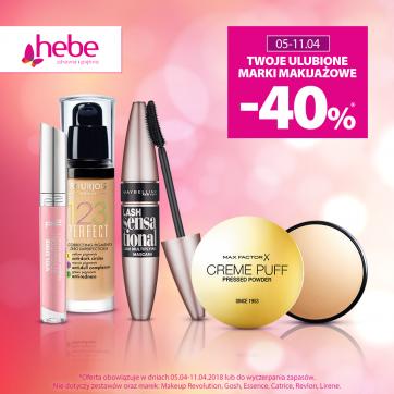Twoje ulubione marki makijażowe -40%*