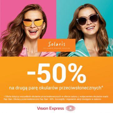 – 50% na drugą parę okularów przeciwsłonecznych!