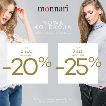 Odbierz 20% lub 25% rabatu w MONNARI