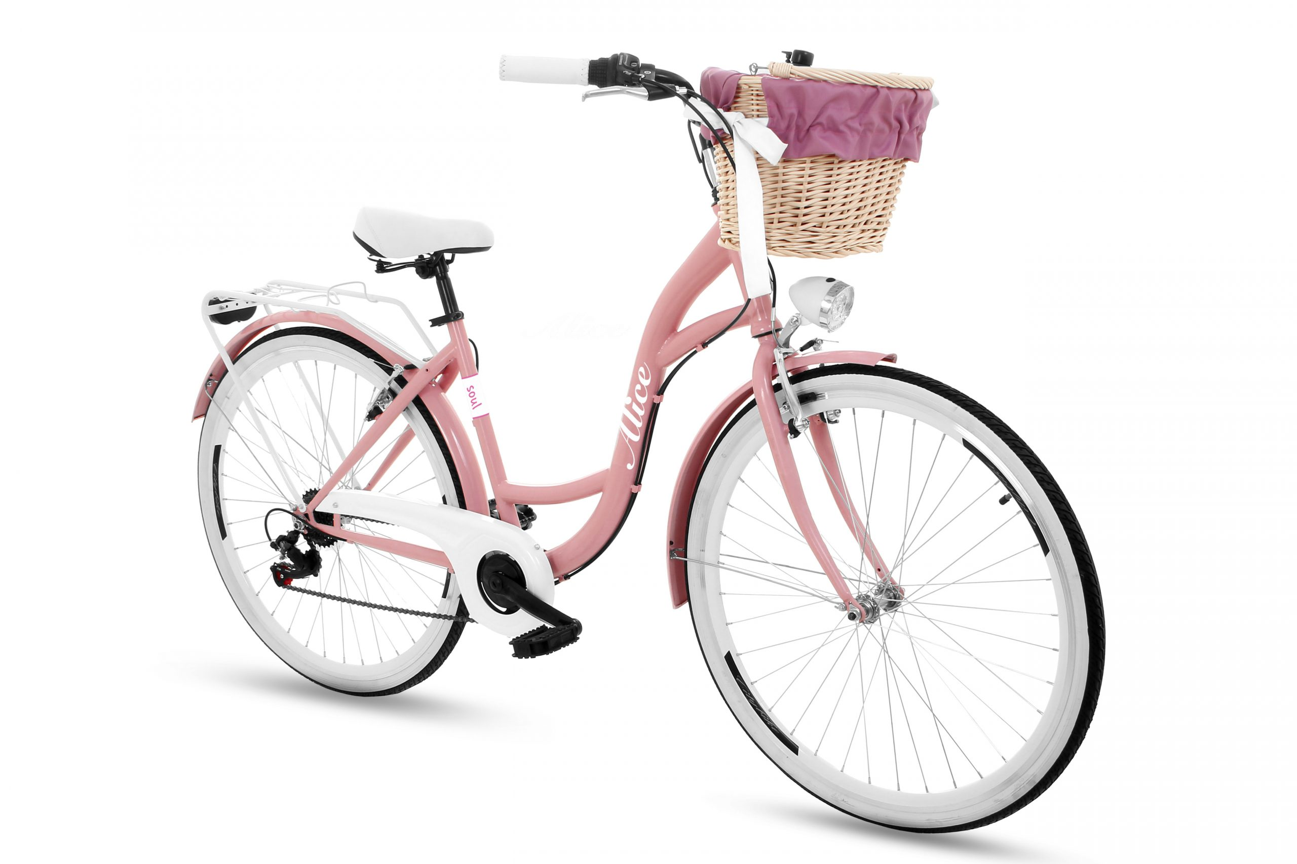 Carrefour - rower miejski z koszykiem wiklinowym