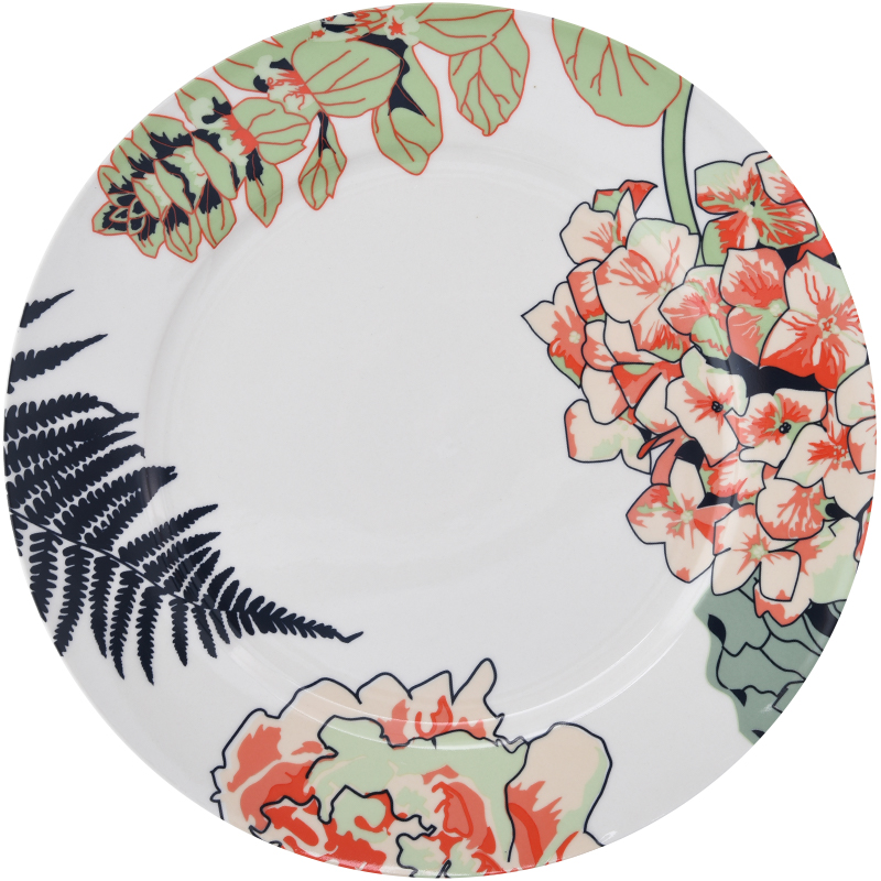 talerz porcelanowy z kolorowym zdobieniem